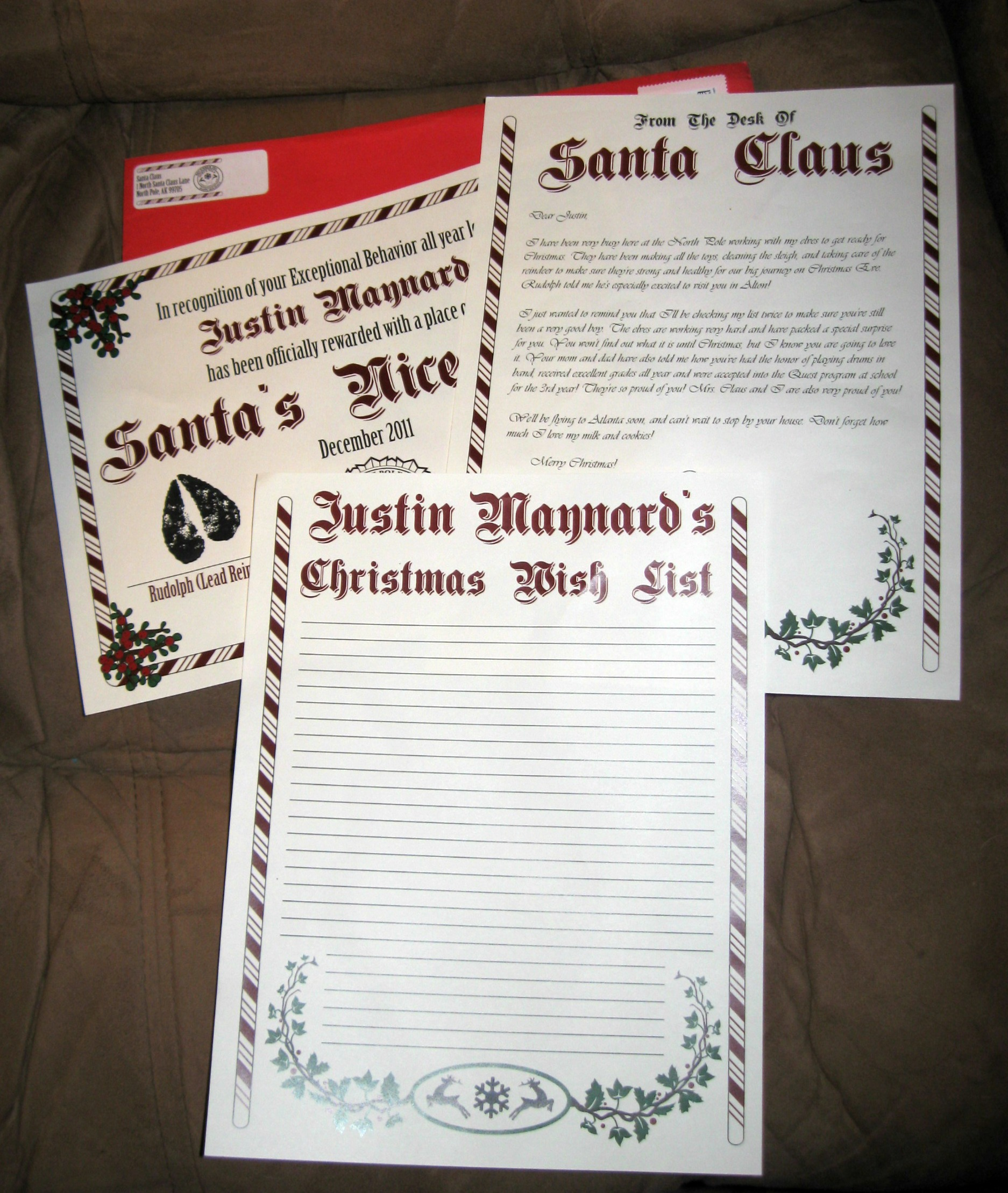 Holiday gift guide the original santa letter review the envelope also had a certificate for being awarded a place on santas nice list it is even stamped with rupolphs hoof and signed by santa claus altavistaventures Gallery