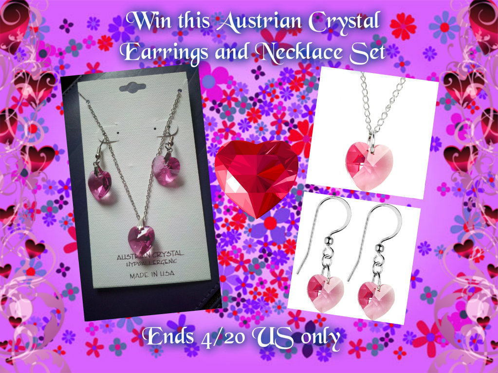 crystalheart earrings and necklacebutton