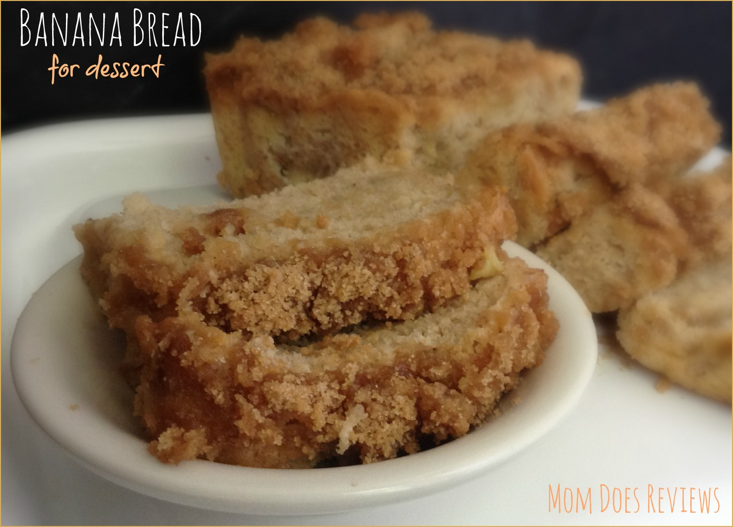 Recipes at Mom Does Reviews | Streusel Topped Banana Bread | Contains NO eggs, milk, butter, or nuts | Less than 1 tbsp of shortening in the topping only