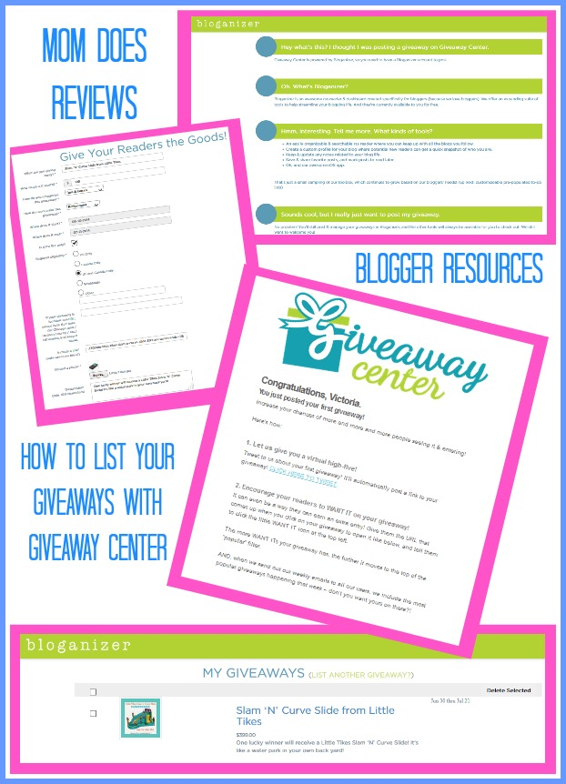 Blogger Resources for using Giveaway Center from Mom Does Reviews | How to Promote Your Giveaways Using Giveaway Center and why your readers will love it!