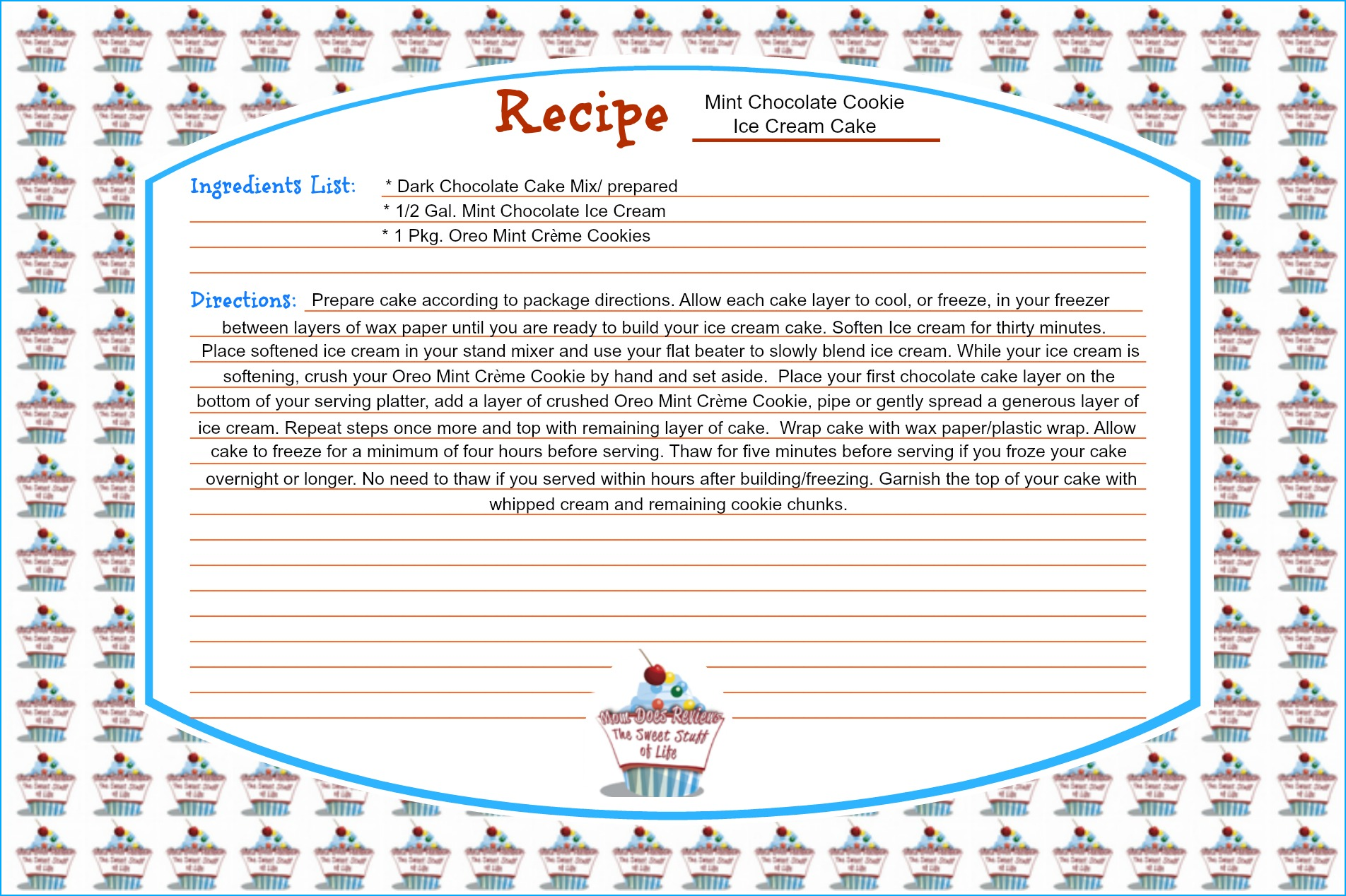 FREE Downloadable Recipe Cards at Mom Does Reviews | Mint Chocolate Cookie Ice Cream Cake Recipe | #MomDoesReviews