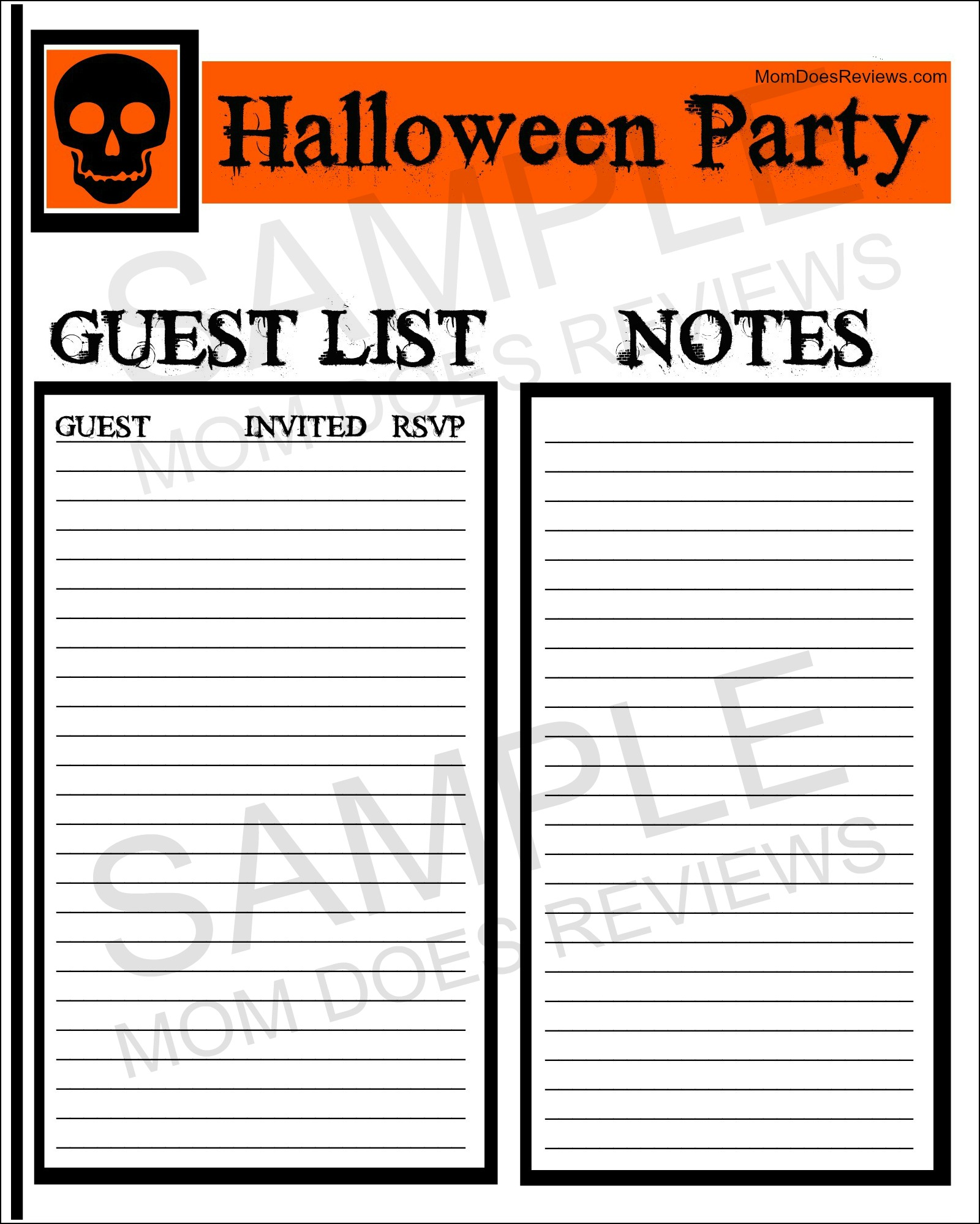 Free Halloween Party Printables from Mom Does Reviews | Free Halloween Party Planning Sheets #MomDoesReviews