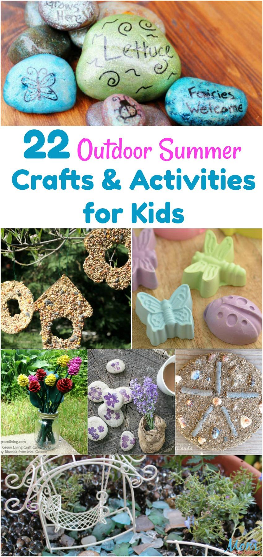 22 Outdoor Summer Crafts & Activities for Kids vertical banner