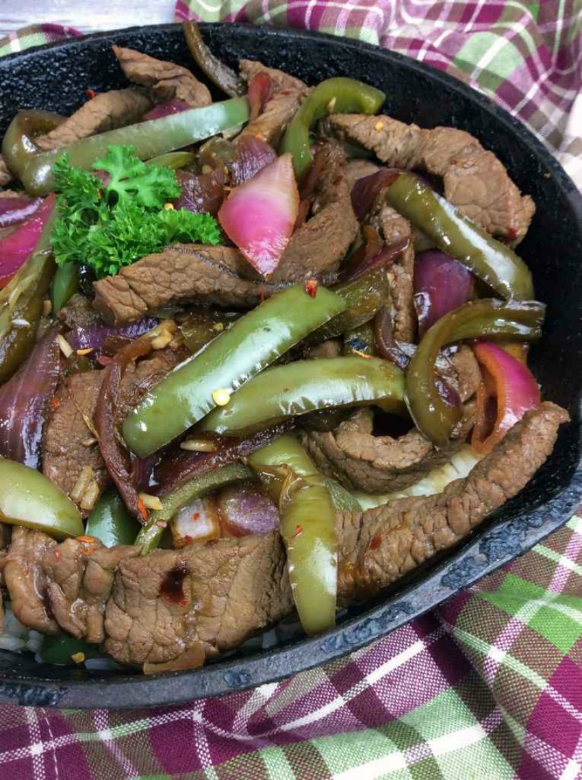 Spicy Cast Iron Skillet Steak and Peppers