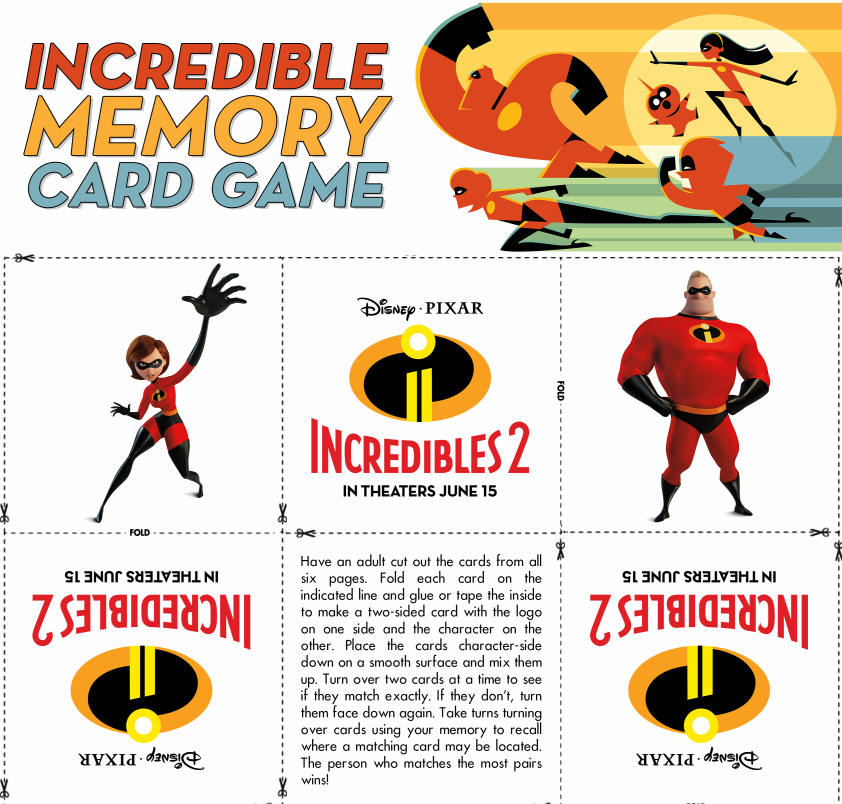 Incredibles 2 Memory Card Game