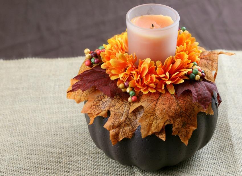 Dollar Store DIY - Fall Pumpkin Candle Holder