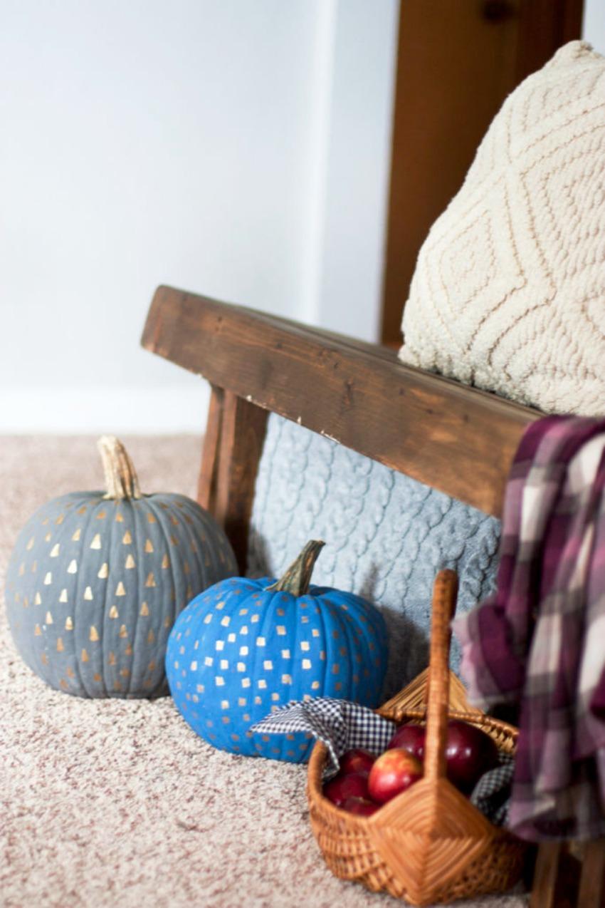 Easy Metallic Patterned Painted Pumpkins