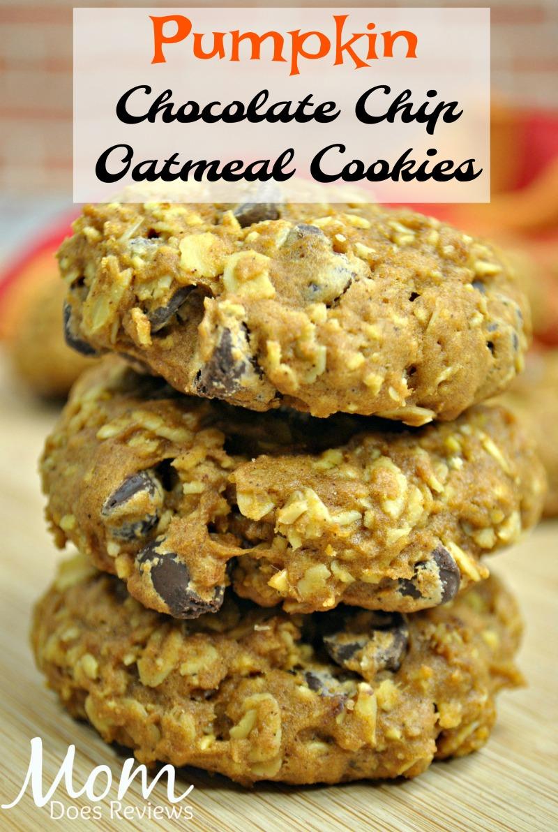 Pumpkin Chocolate Chip Oatmeal Cookies #dessert #cookies #pumpkin #chocolatechip