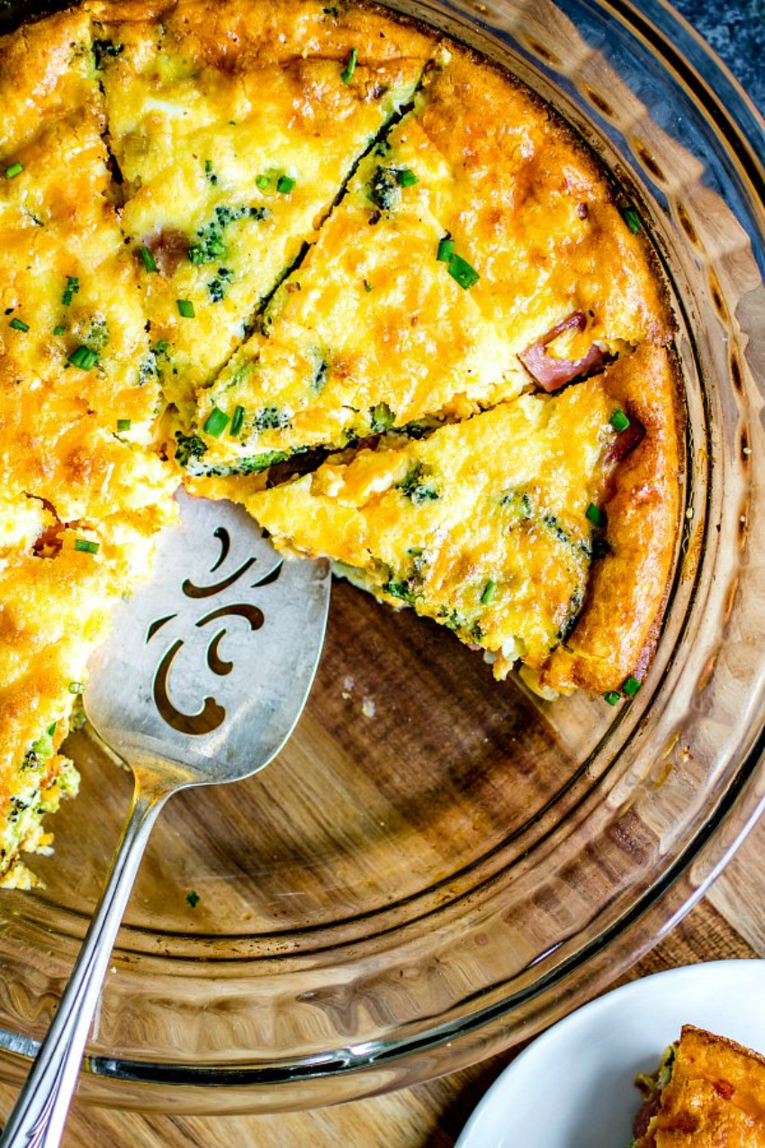 Low Carb Ham and Cheese Crustless Quiche
