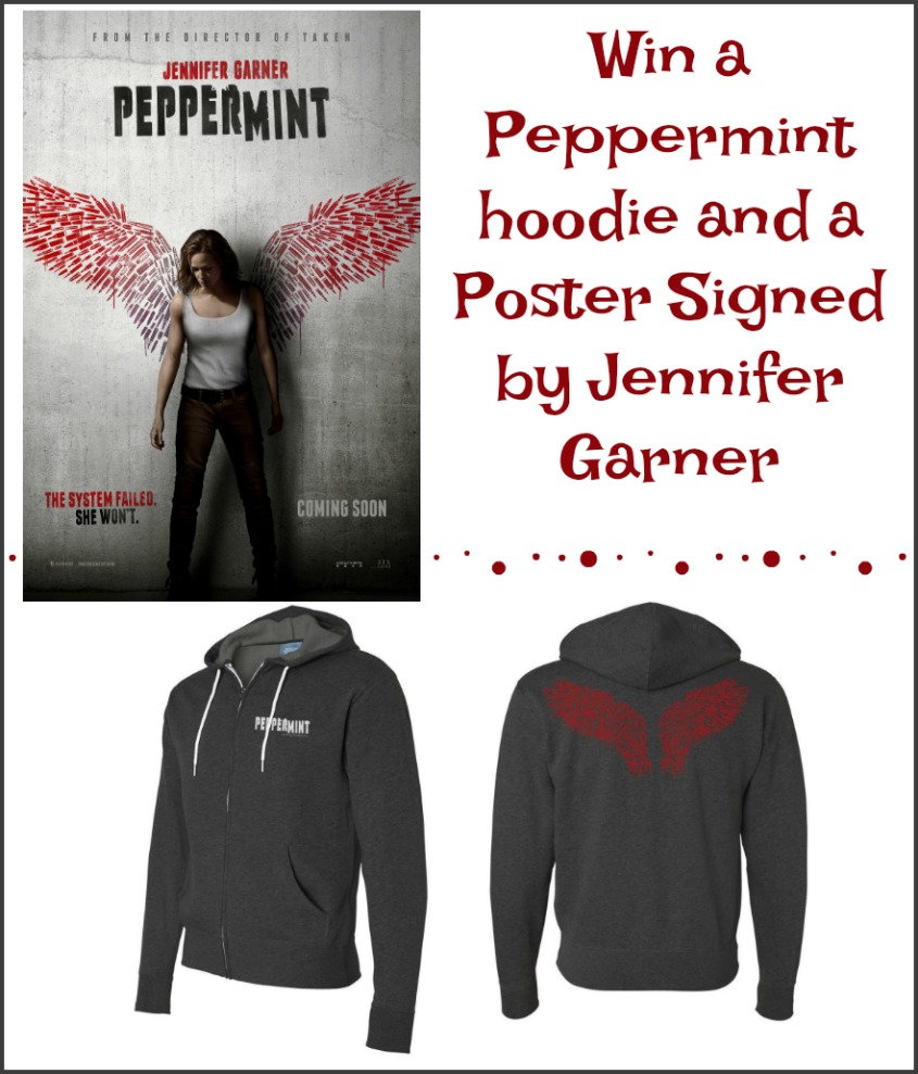 Win a Peppermint hoodie and Poster signed by Jennifer Garner