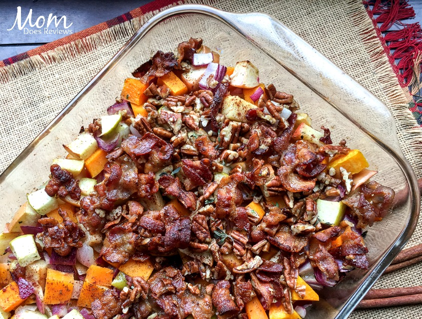 Paleo Apple Butternut Squash Casserole with Bacon-Pecan Topping