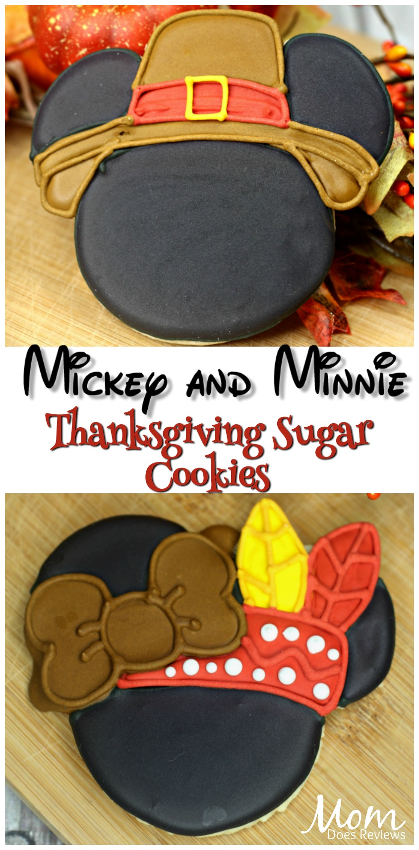 Mickey and Minnie Thanksgiving Sugar Cookies #cookies #thanksgiving #disney #sweettreats