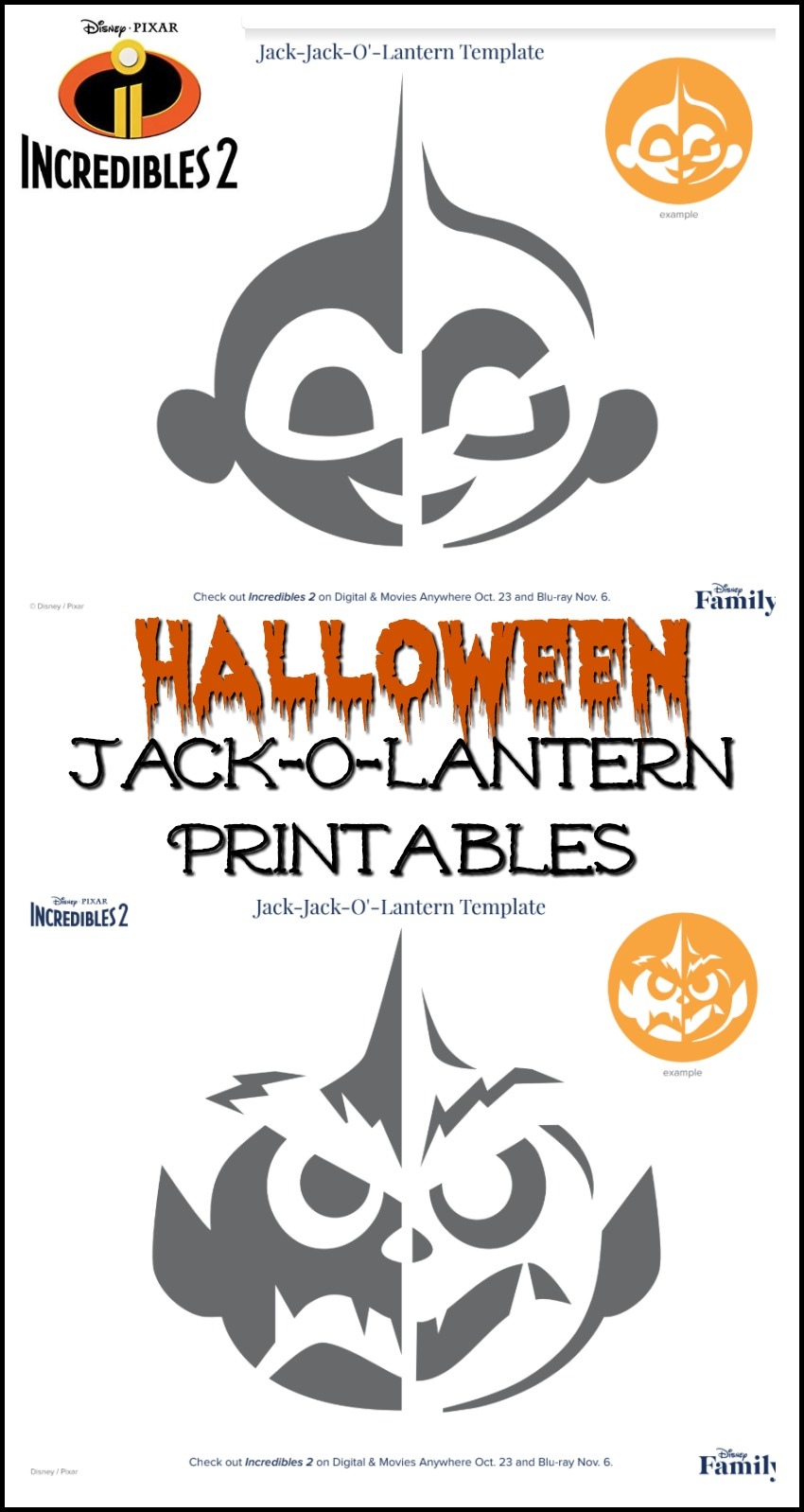 Incredible 2 Halloween Printables #halloween Incredibles2 #printables