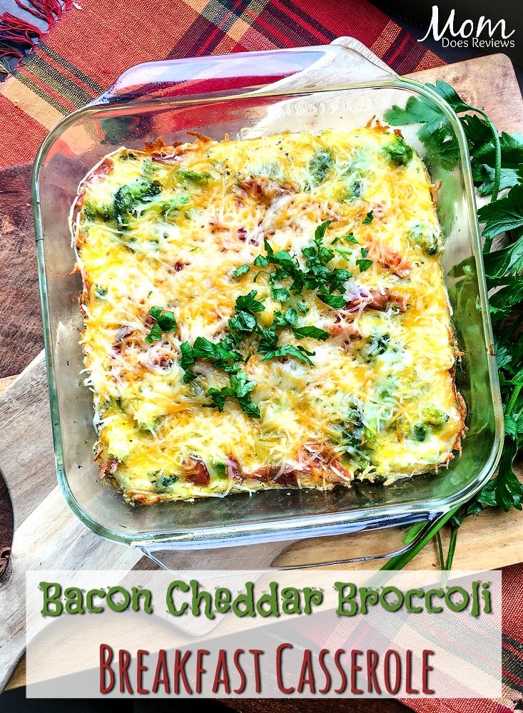 Bacon Cheddar Broccoli Breakfast Casserole #food #breakfast #bacon #casserole #getinmybelly