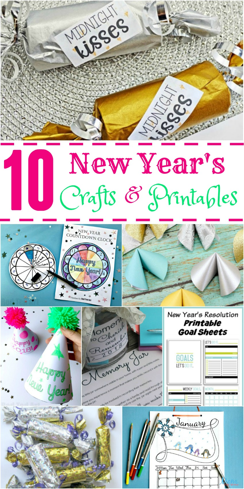 10 New Year's Crafts and Printables to Help you Celebrate #crafts #printables #newyear