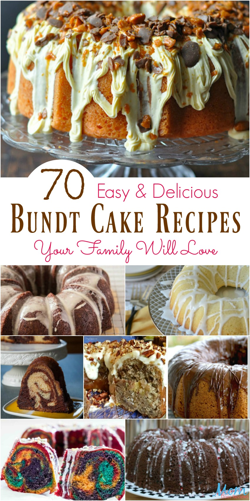 70 Easy & Delicious Bundt Cake Recipes Your Family Will Love #cakes #recipes #desserts #sweets #yummy