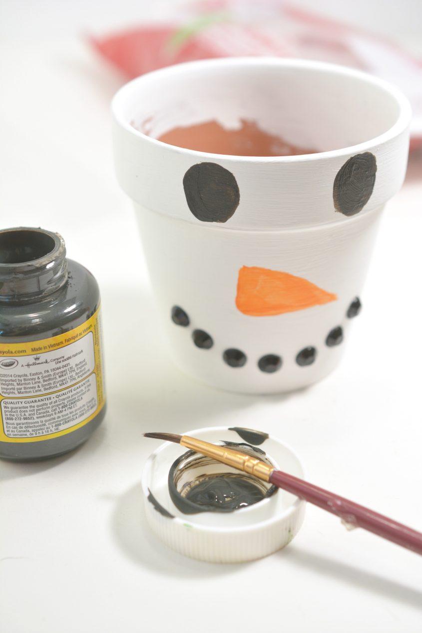 DIY Snowman Painted Pot with Mints