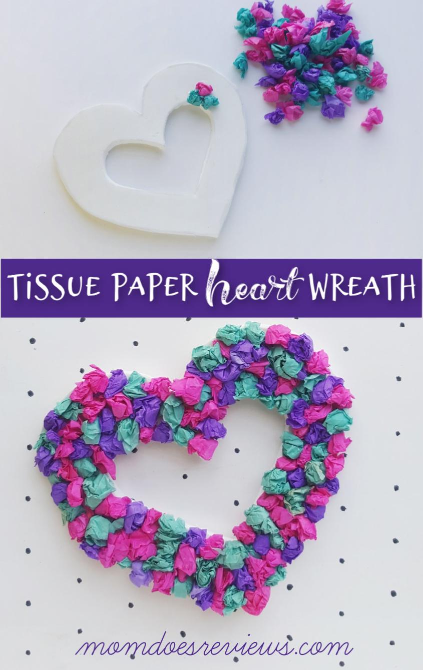 Tissue Paper Heart Wreath #Craft #heart #valentinesday #papercraft