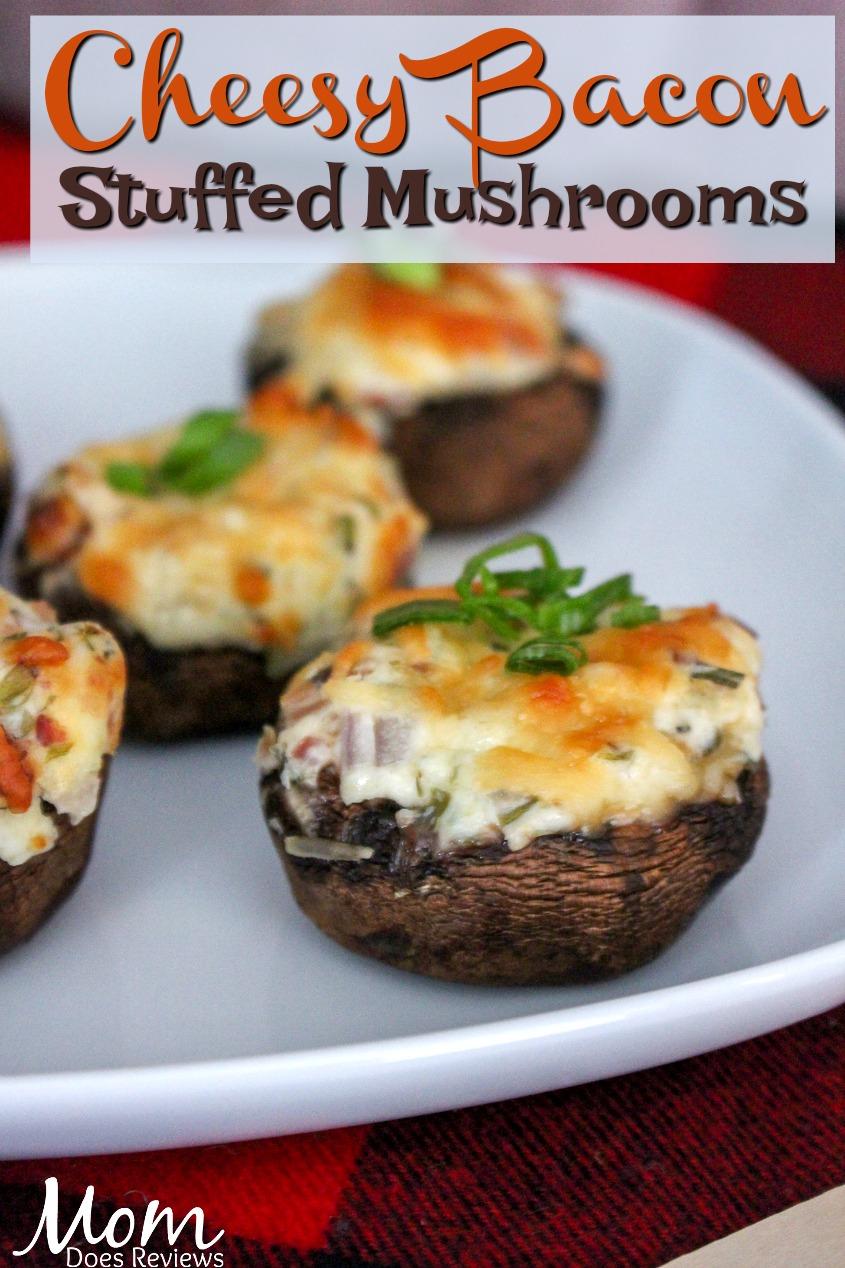 Cheesy Bacon Stuffed Mushrooms #cheese #recipe #appetizers #bacon