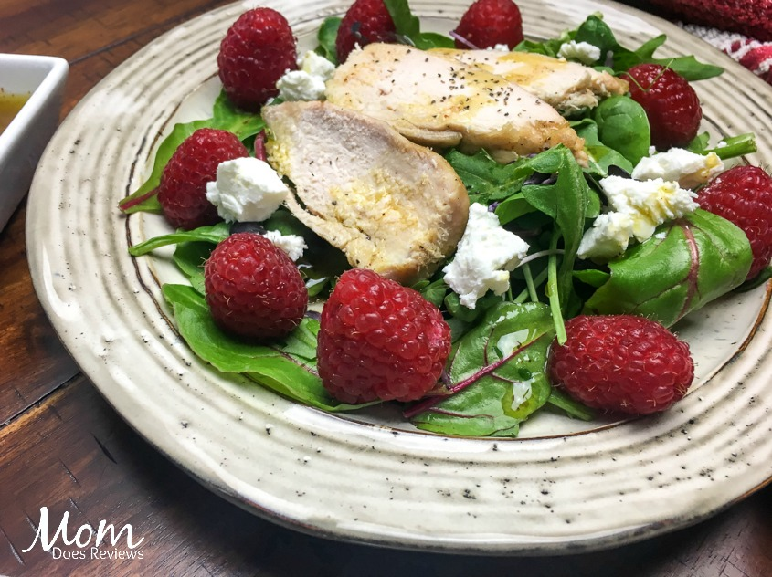 Easy Raspberry Chicken Mixed Green Salad