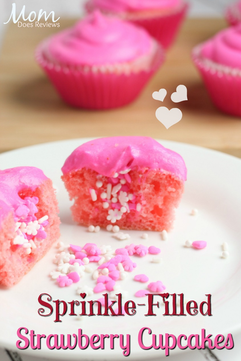 Strawberry Sprinkle Filled Cupcakes #Sweet2019 #Cupcakes #valentinesday #desserts #sweettreats