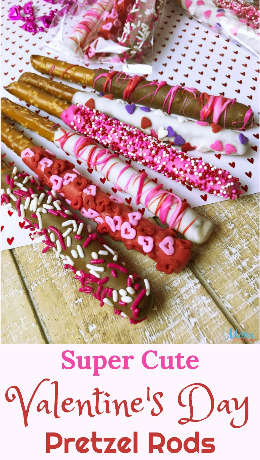 Super Cute Valentine's Day Pretzel Rods #Sweet2019 #sweets #treats #valentinesday #love #yummy #funfood