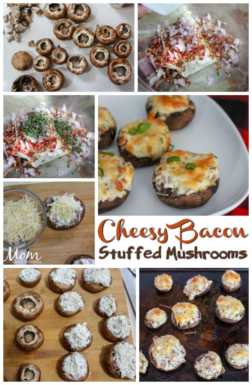 cheesy bacon stuffed mushrooms #recipes #appetizers #bacon #cheese