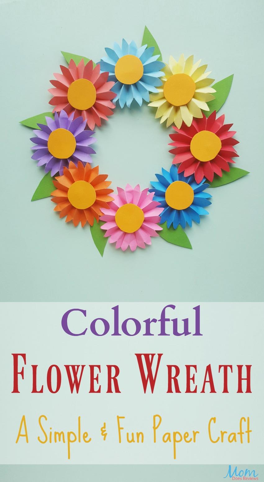 Colorful Flower Wreath, A Simple and Fun Paper #Craft #funstuff #kidscraft #flowers #diy
