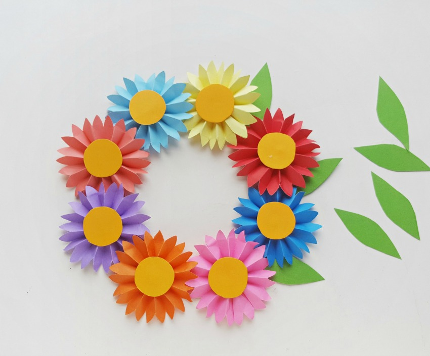 Colorful Flower Wreath process