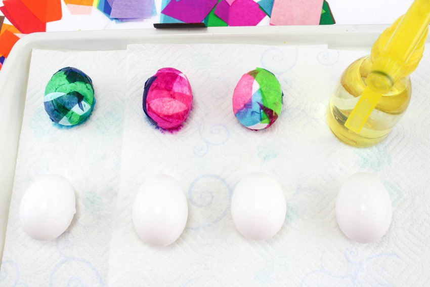 Tissue Paper Dyed Easter Eggs process