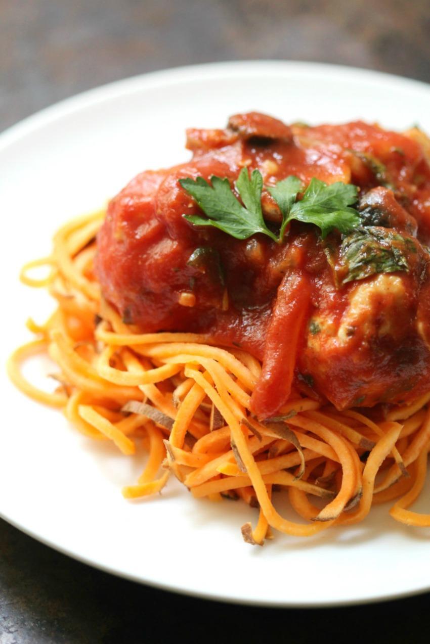 Italian Chicken Meatballs & Sweet Potato Spaghetti