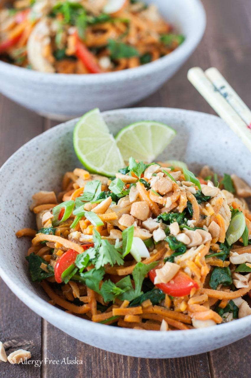 Thai Chicken & Sweet Potato Noodle Bowls
