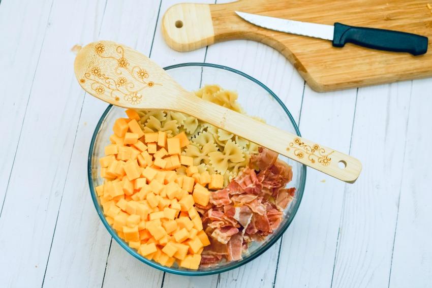 Bacon Ranch Pasta Salad process