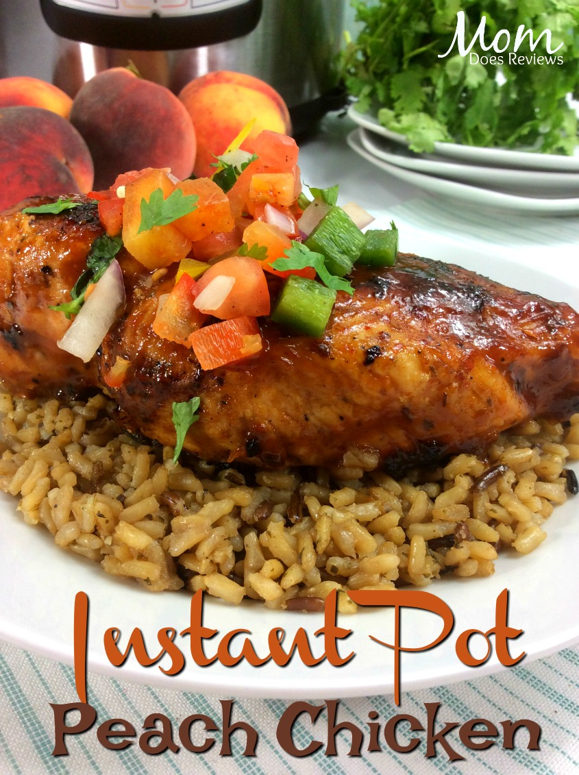 Instant Pot Peach Chicken with Peach BBQ Sauce and Salsa #Recipe