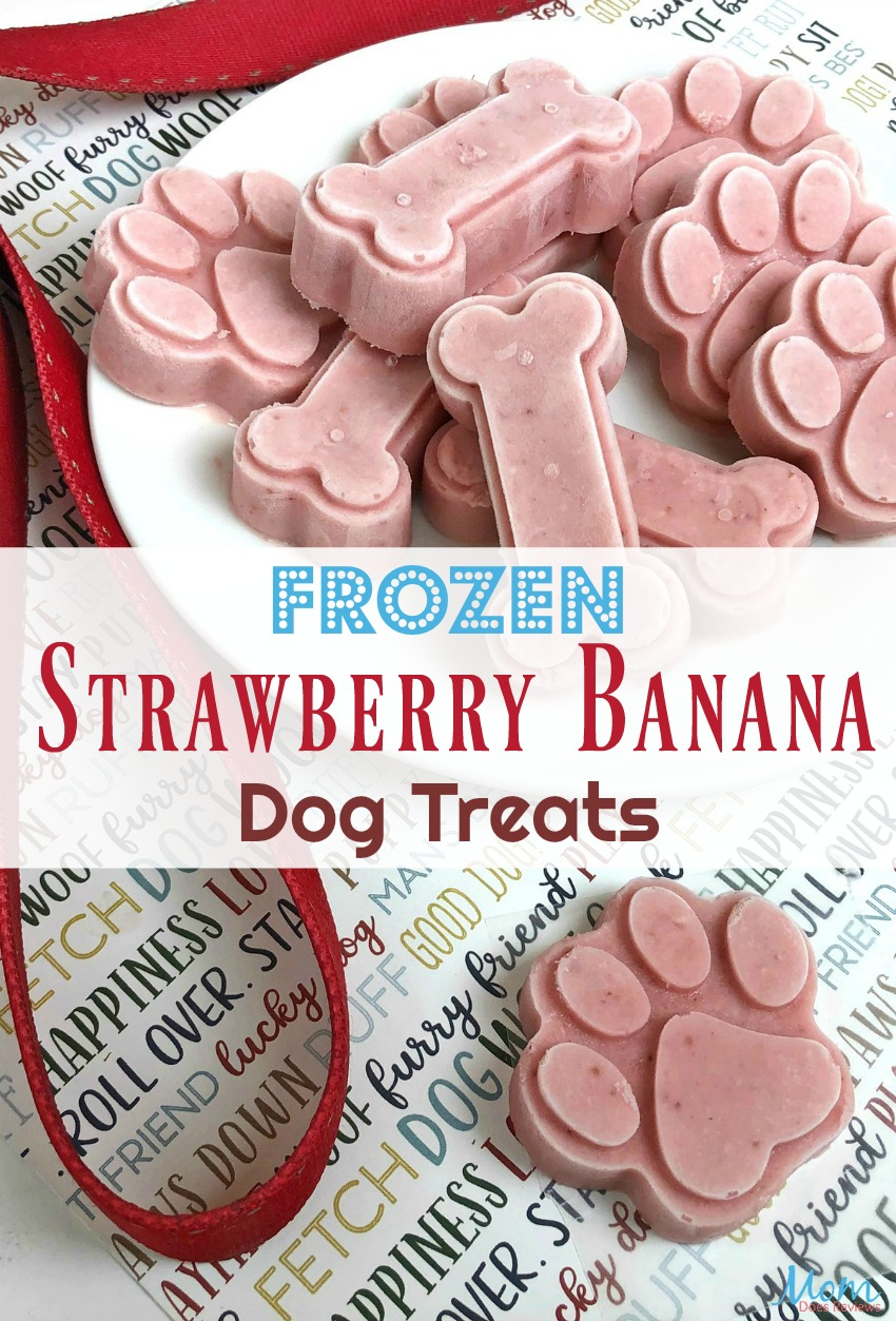 Strawberry Banana Dog Treats #recipe #dogs #treats #frozentreats #food #foodie #forpeopletoo