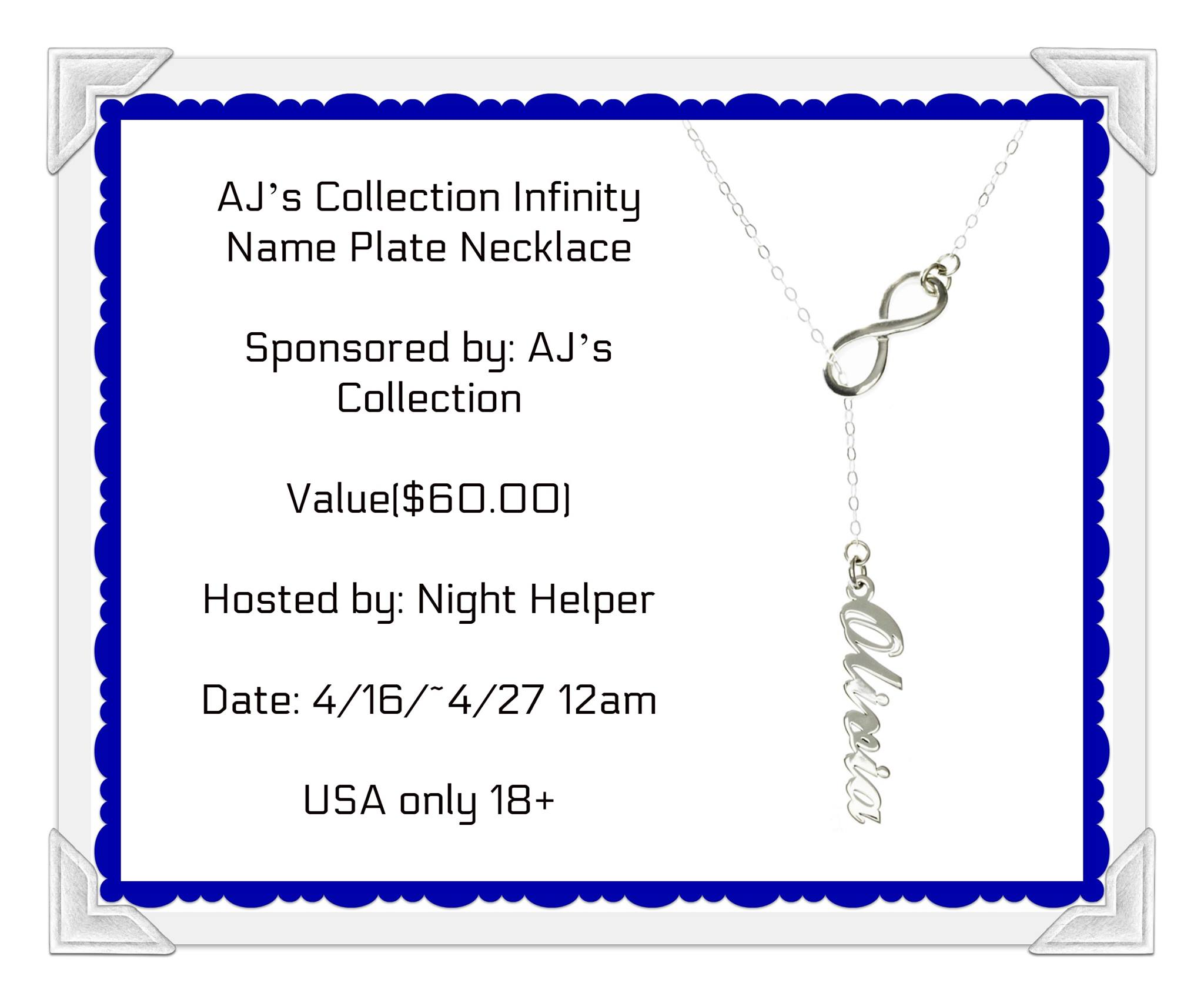 Win A AJ's Collection Infinity Name Plate