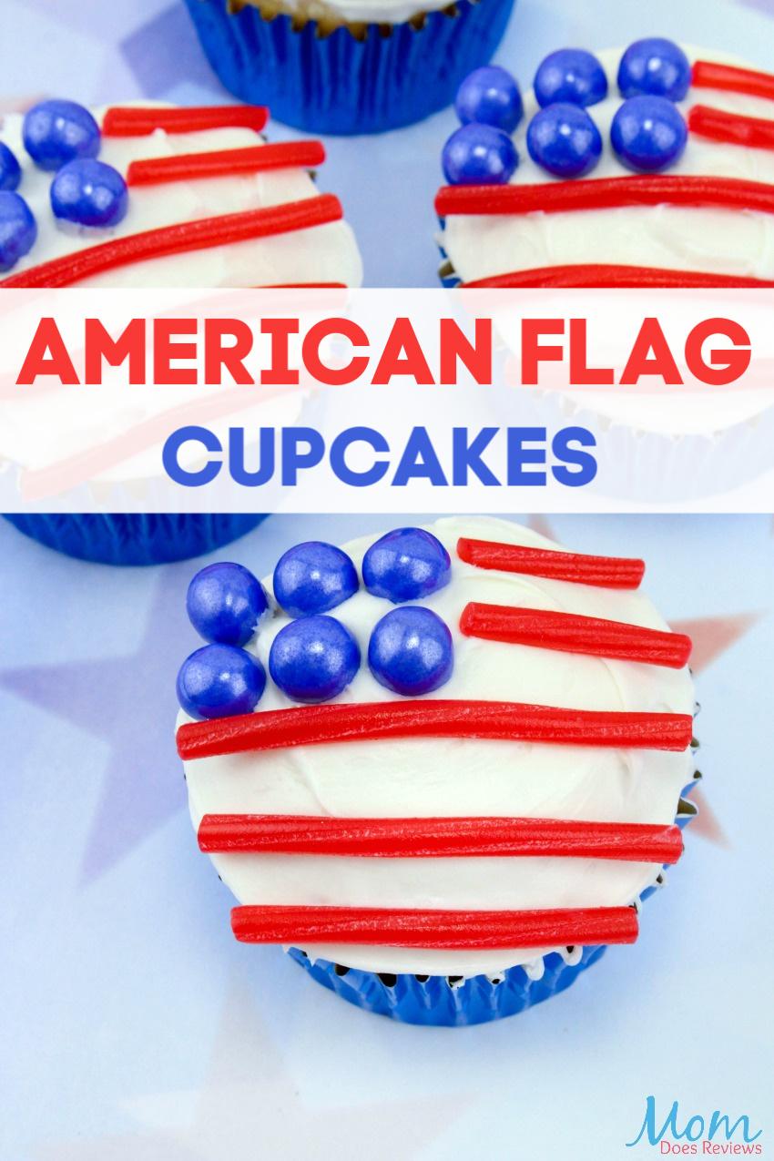 American Flag Cupcakes  #recipe #redwhiteblue #cupcakes #patriotic #desserts