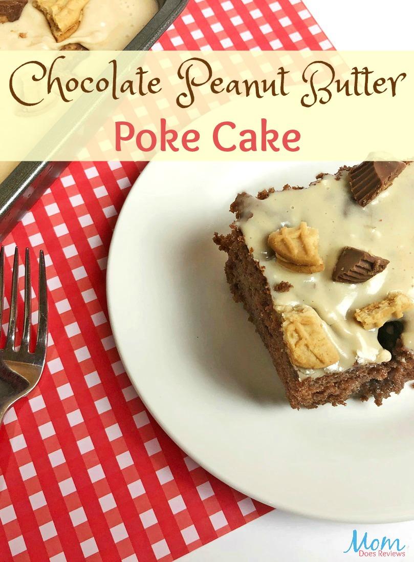 Chocolate Peanut Butter Poke Cake Recipe #Recipe #cake #peanutbutter #pokecake #dessert #getinmybelly