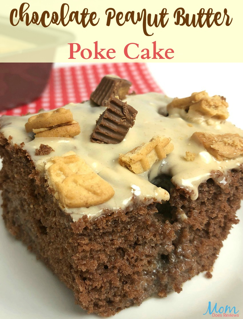 Chocolate Peanut Butter Poke Cake #Recipe #cake #peanutbutter #pokecake #dessert #getinmybelly