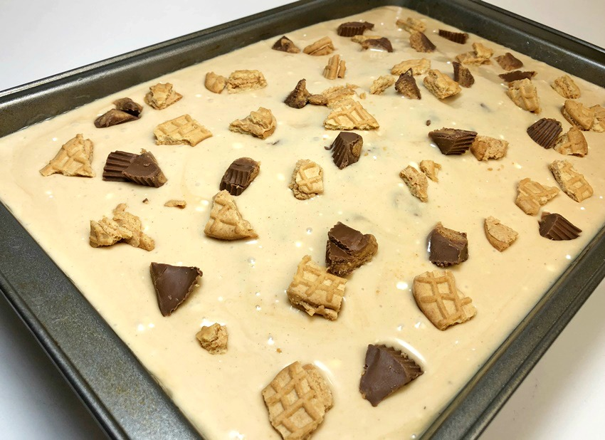 Chocolate Peanut Butter Poke Cake process