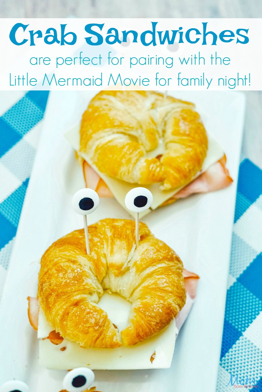 Crab Sandwiches are perfect for pairing with the Little Mermaid Movie for family night! #recipe #funfood #littlemermaid #partyfood #foodie