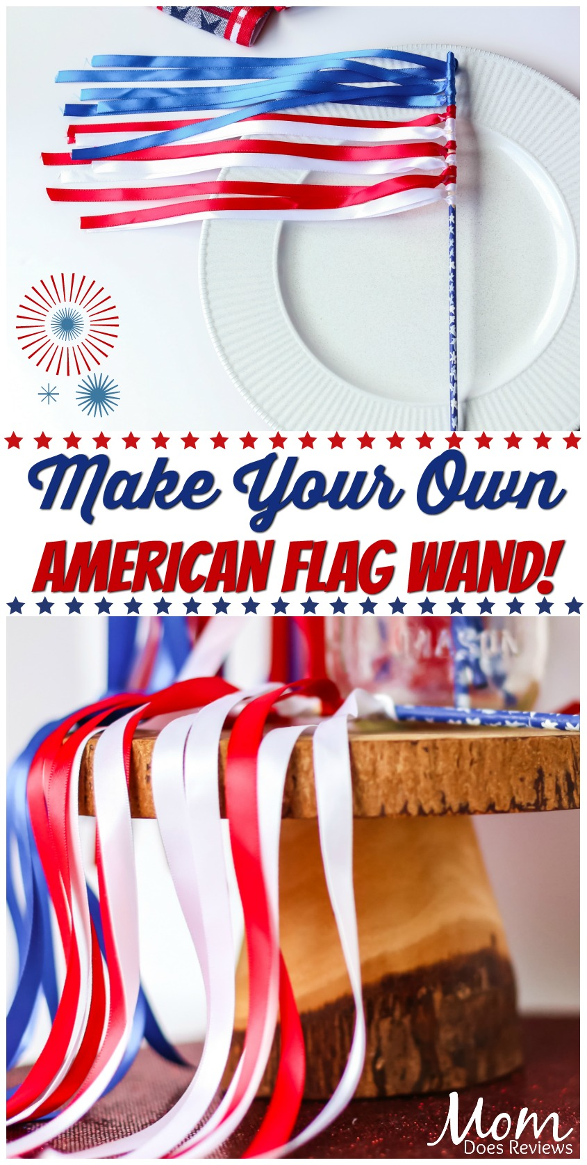 Make Your Own American Flag Wand! #crafts #flag #patriotic #funcrafts