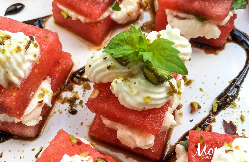 Watermelon, Whipped Feta, & Basil Bites- Perfect Summer Appetizer!