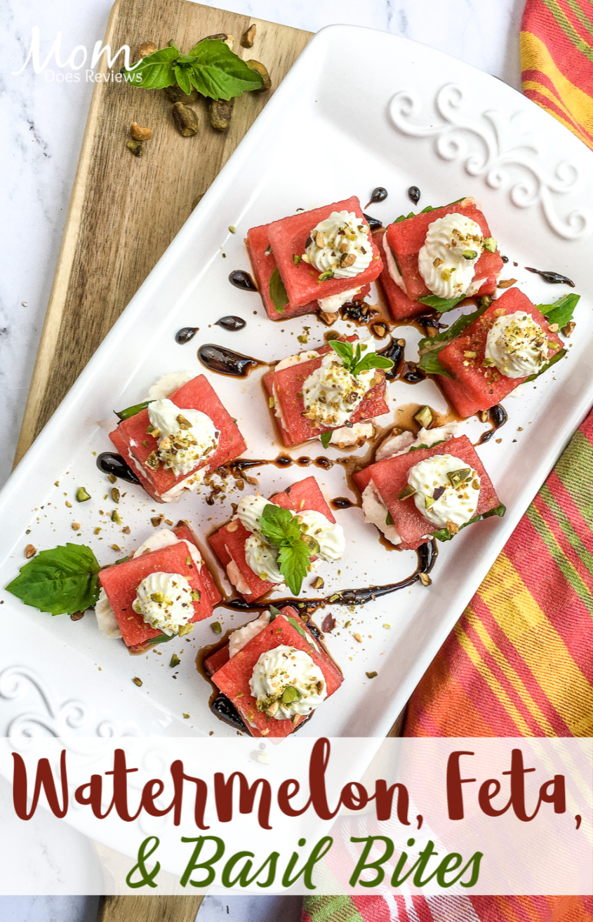 Watermelon, Whipped Feta, & Basil Bites #recipe #appetizer #summerentertaining #food #foodie