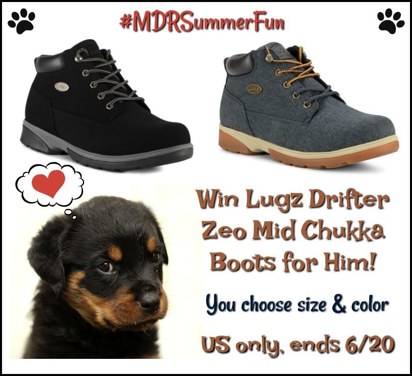 #Win Lugz Drifter Zeo Mid Chukka Boots - Fashionable Footwear for Him! US, ends 6/20 #MDRSummerFun