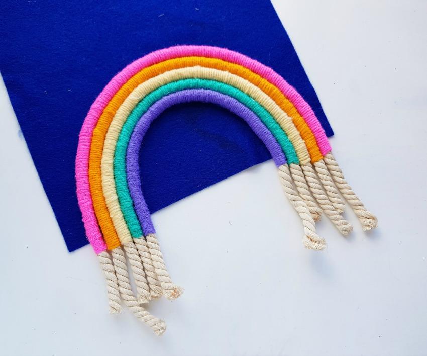 DIY Rainbow Wall Decor process