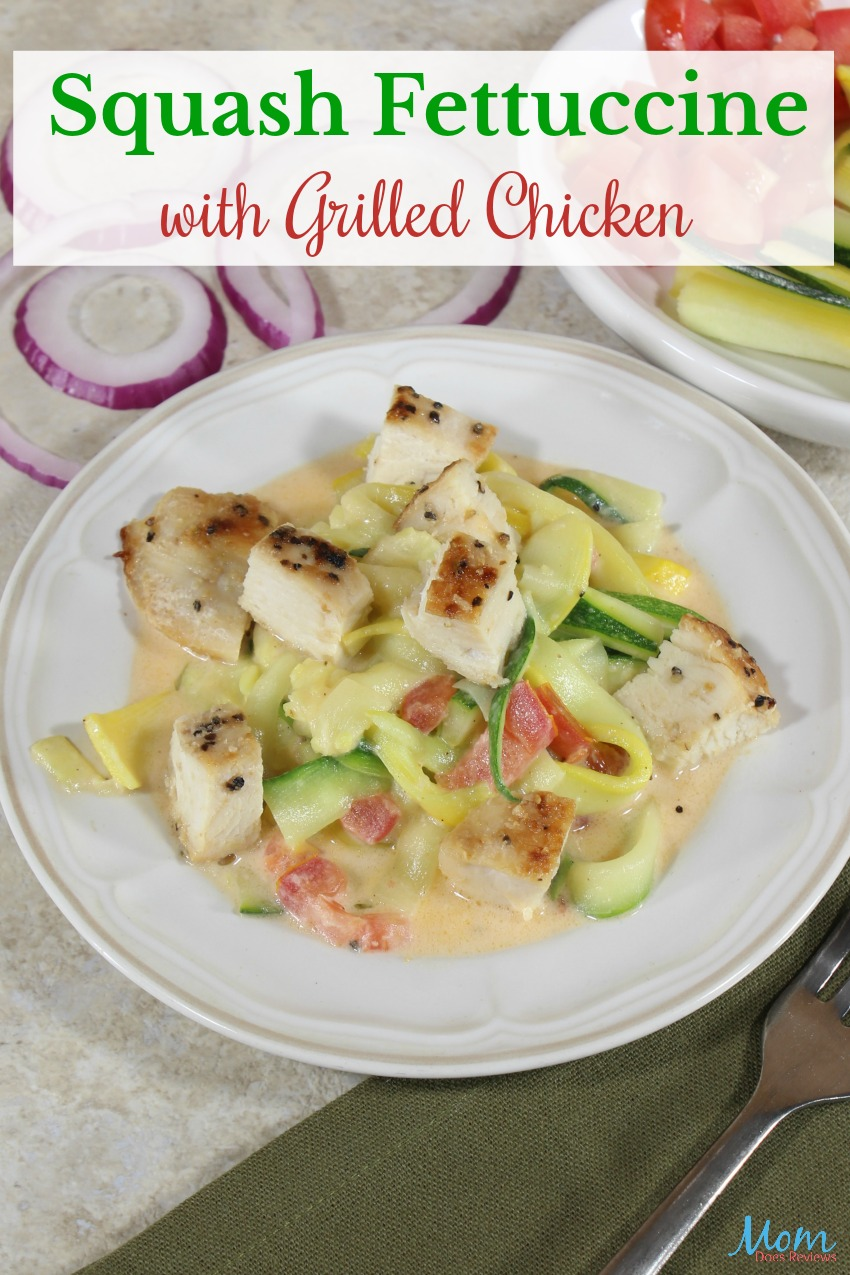 Squash Fettuccine with Grilled Chicken #Recipe #squash #foodie