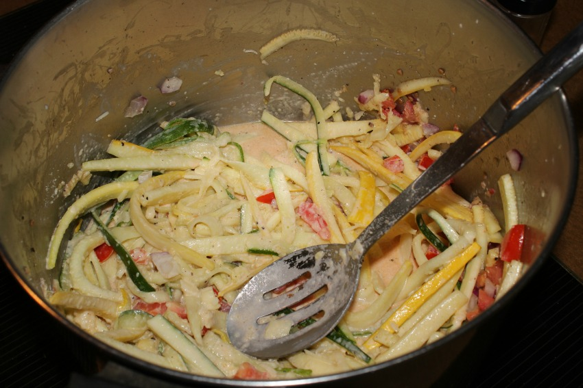 Squash Fettuccine with Grilled Chicken Recipe process