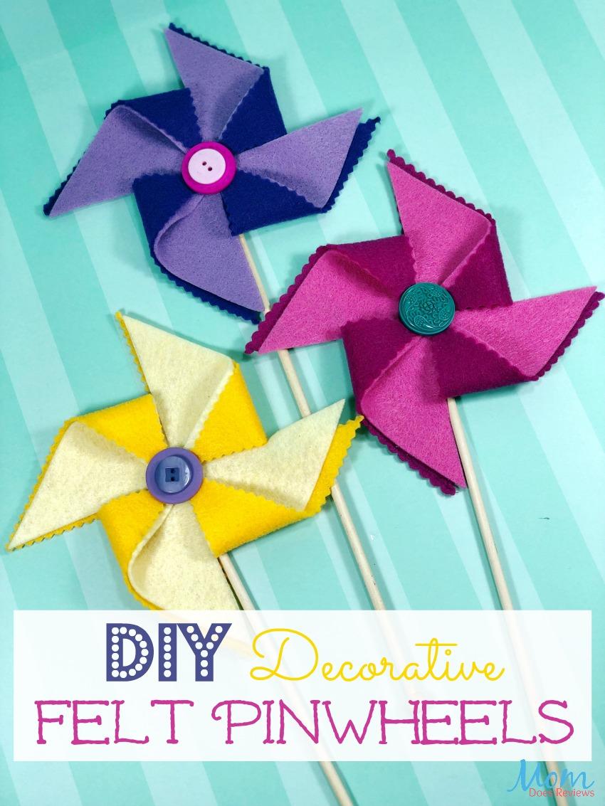 DIY Decorative Felt Pinwheels #crafts #diy #feltcrafts