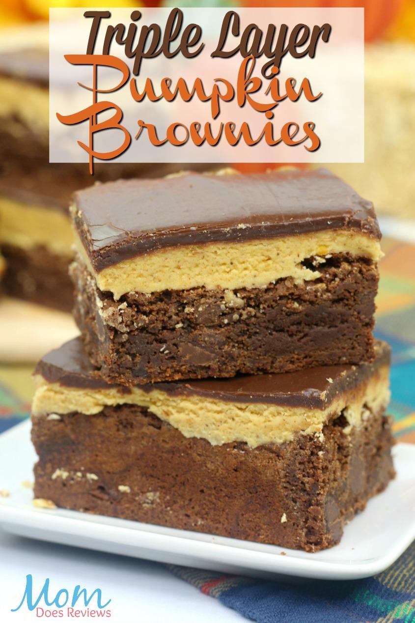 Rich & Decadent Triple Layered Pumpkin Brownies #desserts #pumpkin #brownies